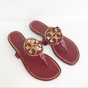 Tory Burch Metal Miller Sandals Red Roma Croc 7.5